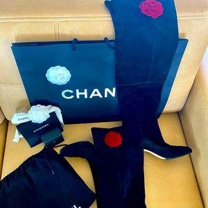 Chanel Thigh High CC Logo Suede Camellia Flowers